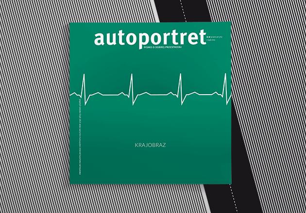 okładka magazynu autoportret - zieleń z białą linią przypominającą EKG