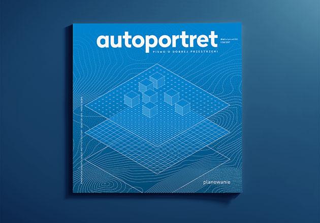 okładka magazynu autoportret z trójwymiarowym rzutem trzech równoległych płaszczyzn, na najwyższej widać kilka mniejszych sześcianów