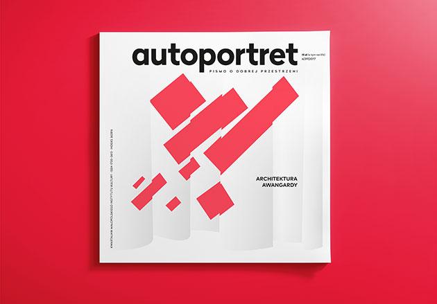 okładka magazynu autoportret z jasnoszarymi i malinowymi prostokątami