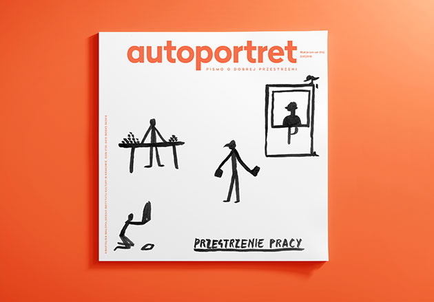okładka magazynu autoportret - minimalistyczny rysunek przedstawiający postaci uprawiające różne zawody