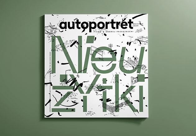okładka magazynu autoportret - duży, zielony typograficzny tytuł na tle raczej abstrakcyjnych czarnych maźnięć