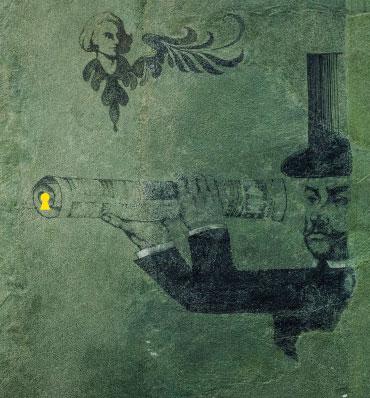 Zagadkowa ilustracja z postacią człowieka w cylindrze patrzącego przez lunetę, na końcu której widnieje żółta dziurka od klucza