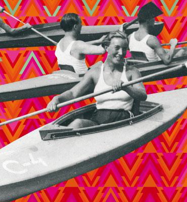 kajakarki i kajakarze ze starej czarno-białej fotografii umieszczeni na kolorowym, wzorzystym tle