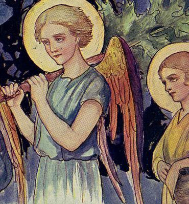 Fragment obrazu z aniołami