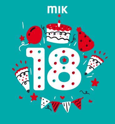 ilustracja urodzinowa - liczba 18, logo MIK, kawałki tortu