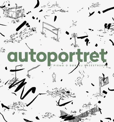 """okładka """"autoportret - pismo o dobrej przestrzeni"""" z ciekawą czarnobiałą abstrakcją w tle"""