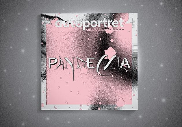 okładka numeru magazynu autoportret - abstrakcyjny, czarno-biało-różowy wzór