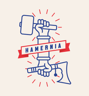 Hamernia - logo z dwiema rękami, jedna trzyma młot, druga siekierkę