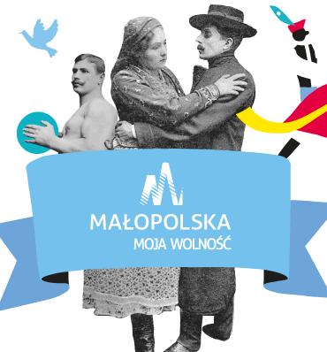 Małopolska. Moja wolność - logotyp na pasie opasającym stare czarno-białe zdjęcie z tańczącą parą