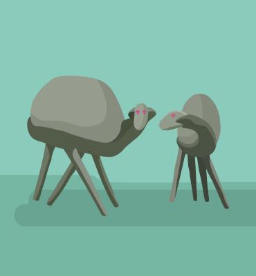 Ilustracja przedstawiająca dwie owce - rzeźby autorstwa Chromego