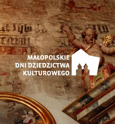 logotyp Małopolskich Dni Dziedzictwa Kulturowego nałożony na zdjęcie zabytkowego wnętrza kościelnego