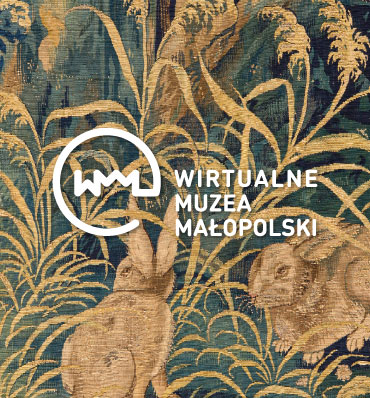 logotyp Wirtualnych Muzeów Małopolski nałożony na kolorową ilustrację z królikami
