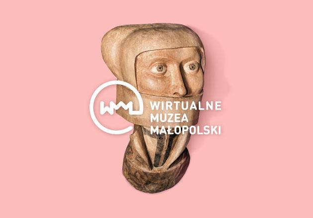 Malopolska Virtual Museums logo on a head sculpture